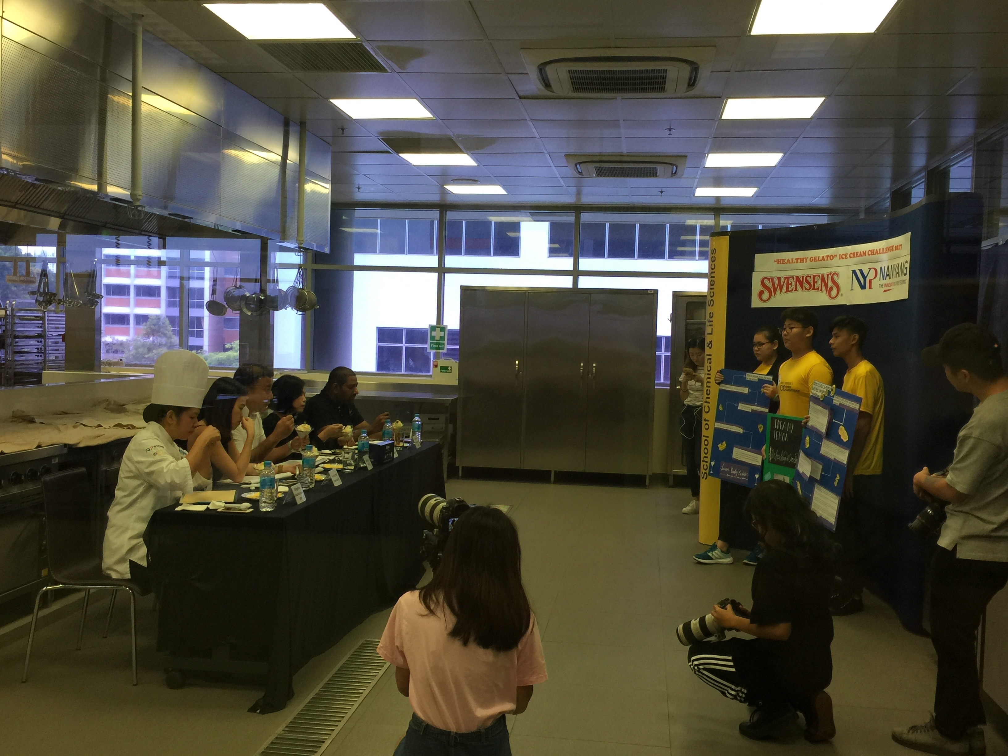 Students presenting about their Gelato to the Judges in the NYP-Swenson Ice-cream Making Competition.JPG